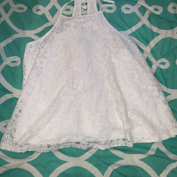 Hollister Tops - Small Hollister White Lace Tank Top